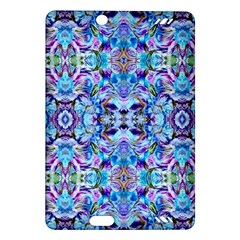 Elegant Turquoise Blue Flower Pattern Kindle Fire Hd (2013) Hardshell Case by Costasonlineshop