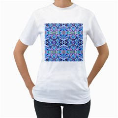 Elegant Turquoise Blue Flower Pattern Women s T Shirt (white)  by Costasonlineshop