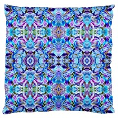 Elegant Turquoise Blue Flower Pattern Large Flano Cushion Cases (one Side)  by Costasonlineshop