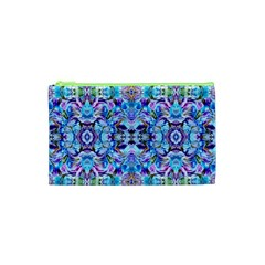 Elegant Turquoise Blue Flower Pattern Cosmetic Bag (xs) by Costasonlineshop