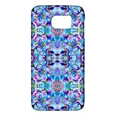 Elegant Turquoise Blue Flower Pattern Galaxy S6 by Costasonlineshop