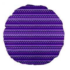 Purple Tribal Pattern Large 18  Premium Flano Round Cushions by KirstenStar