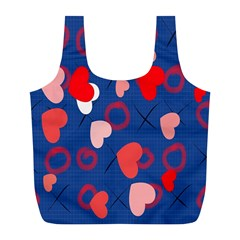 Hearts X s & O s Full Print Recycle Bags (l)  by VintageTaylor