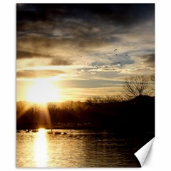 Setting Sun At Lake Canvas 8  X 10  by trendistuff