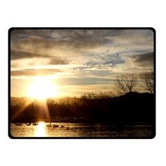 SETTING SUN AT LAKE Double Sided Fleece Blanket (Small)  by trendistuff