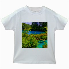 Plitvice, Croatia Kids White T Shirts by trendistuff
