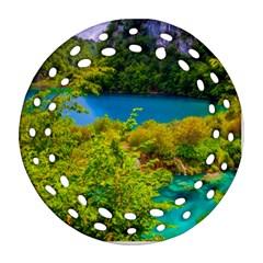 Plitvice, Croatia Round Filigree Ornament (2side) by trendistuff