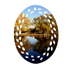 Autumn Lake Ornament (oval Filigree)  by trendistuff