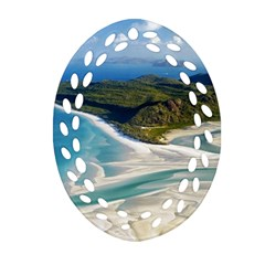 Whitehaven Beach 1 Oval Filigree Ornament (2 Side)  by trendistuff