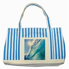 Ocean Wave 1 Striped Blue Tote Bag  by trendistuff