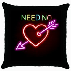 Need No Love Black Throw Pillow Case by typewriter