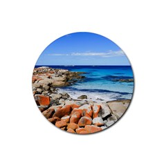Bay Of Fires Rubber Coaster (round)  by trendistuff