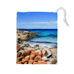 Bay Of Fires Drawstring Pouches (large)  by trendistuff