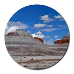 Petrified Forrest Tepees Round Mousepads by trendistuff