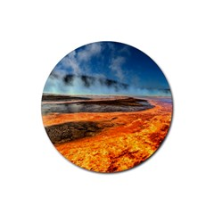 Fire River Rubber Coaster (round)  by trendistuff