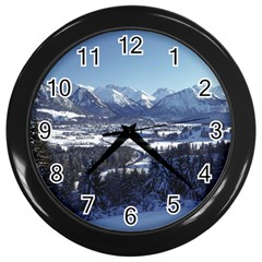 Snowy Mountains Wall Clocks (black) by trendistuff