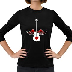 Flying Heart Guitar Women s Long Sleeve Dark T Shirt by waywardmuse