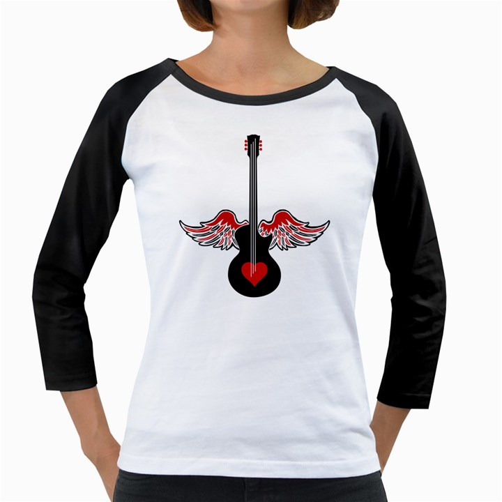 Flying Heart Guitar Girly Raglan