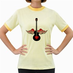 Flying Heart Guitar Women s Fitted Ringer T Shirt