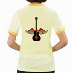 Flying Heart Guitar Women s Fitted Ringer T-Shirt Back