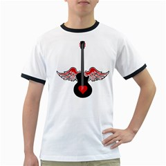 Flying Heart Guitar Ringer T by waywardmuse