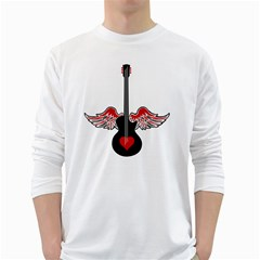 Flying Heart Guitar Long Sleeve T Shirt by waywardmuse