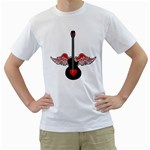 Flying Heart Guitar Men s T-Shirt (White)  Front