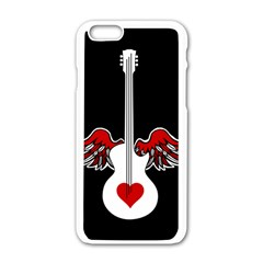 Flying Heart Guitar Apple Iphone 6/6s White Enamel Case by waywardmuse