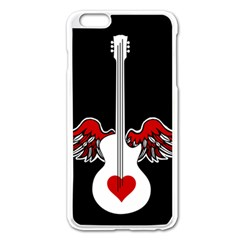 Flying Heart Guitar Apple Iphone 6 Plus/6s Plus Enamel White Case by waywardmuse