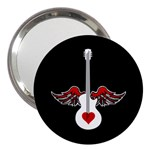 Flying Heart Guitar 3  Handbag Mirror