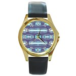 Modern Pattern Factory 01 Round Gold Metal Watches