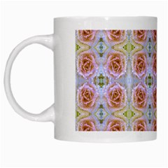 Pink Light Blue Pastel Flowers White Mugs by Costasonlineshop