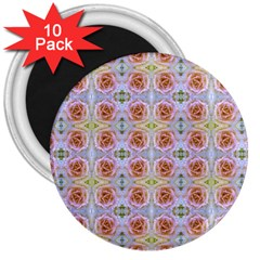 Pink Light Blue Pastel Flowers 3  Magnets (10 Pack)