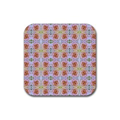 Pink Light Blue Pastel Flowers Rubber Square Coaster (4 Pack)  by Costasonlineshop