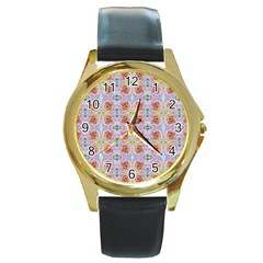 Pink Light Blue Pastel Flowers Round Gold Metal Watches by Costasonlineshop