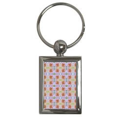 Pink Light Blue Pastel Flowers Key Chains (rectangle)