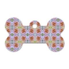 Pink Light Blue Pastel Flowers Dog Tag Bone (two Sides) by Costasonlineshop