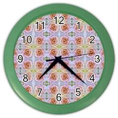 Pink Light Blue Pastel Flowers Color Wall Clocks