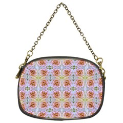 Pink Light Blue Pastel Flowers Chain Purses (one Side)
