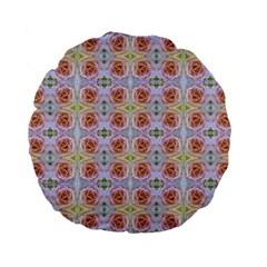 Pink Light Blue Pastel Flowers Standard 15  Premium Flano Round Cushions by Costasonlineshop