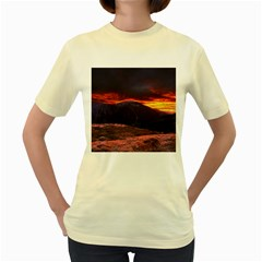 San Gabriel Mountain Sunset Women s Yellow T Shirt by trendistuff