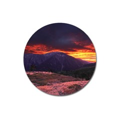 San Gabriel Mountain Sunset Magnet 3  (round) by trendistuff