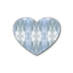 Ice Crystals Abstract Pattern Rubber Coaster (heart)  by Costasonlineshop