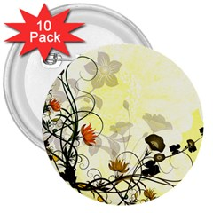Wonderful Flowers With Leaves On Soft Background 3  Buttons (10 Pack)  by FantasyWorld7