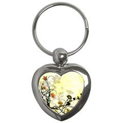 Wonderful Flowers With Leaves On Soft Background Key Chains (heart)  by FantasyWorld7