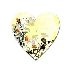 Wonderful Flowers With Leaves On Soft Background Heart Magnet by FantasyWorld7