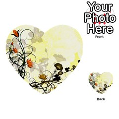 Wonderful Flowers With Leaves On Soft Background Multi Purpose Cards (heart)  by FantasyWorld7