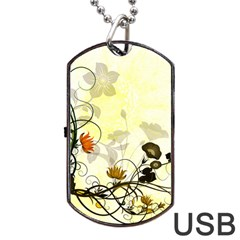 Wonderful Flowers With Leaves On Soft Background Dog Tag Usb Flash (one Side) by FantasyWorld7
