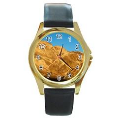 Death Valley Round Gold Metal Watches by trendistuff