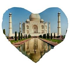 Taj Mahal Large 19  Premium Flano Heart Shape Cushions by trendistuff